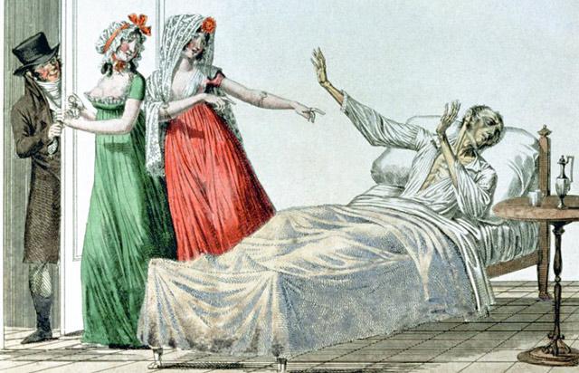 Больной сифилисом, французская карикатура, ок. 1810 г.